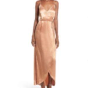 WAYF Teagan Satin Wrap Maxi Dress NWT